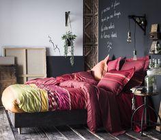 Taie d'oreiller satin de coton rayures multicolores Ressources 50x75