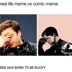real life meme vs comic meme... Seb was born to be Bucky #marvelcinematicuniverse .. pinterest: katepisors