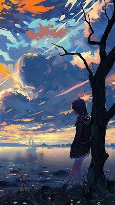 Pin by mockup design on art in 2019 anime art, anime scenery, art. Fantasy Landscape, Landscape Art, Fantasy Art, Anime Scenery Wallpaper, Landscape Wallpaper, Anime Sunset, Aesthetic Art, Aesthetic Anime, Fille Blonde Anime