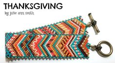 You are purchasing an odd count peyote digital pattern....NOT THE ITEM IN THE PHOTO!!  Every now and then, a pattern that I design has more LIFE to it, even after it is created! THIS creation is one of those designs! Here is THANKSGIVING, part of my series, ALL YEAR ROUND! I couldn't help bring this color palette to life. Very eclectic, this is so fun to work and even more fun to wear! I hope you enjoy THANKSGIVING!  I always use 4lb Fire Line fishing line to stitch; a long, size 12 beading…