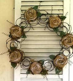 Items similar to Bed Spring Wreath Repurposed Bed Springs Burlap Roses Rustic Metal Wreath Handcrafted on Etsy Bed Spring Crafts, Spring Projects, Spring Art, Rusty Bed Springs, Box Springs, Burlap Roses, Old Beds, Mattress Springs, Funky Junk