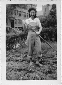 Victory Garden, June 1944 -- Why doesn't my hair look like that when I garden?