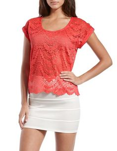 Scalloped Floral Lace Tee
