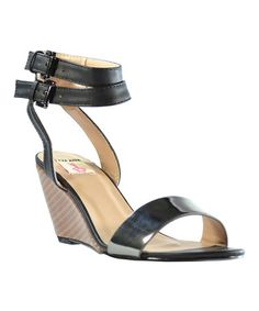 Loving this Black & Pewter Carly Wedge on #zulily! #zulilyfinds