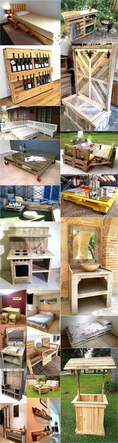 Repurposing Plans for Wooden Pallets: The wooden pallets can be used in their natural form, can be re-modeled and recycled. They can be easily turned into Scrap Wood Projects, Diy Pallet Projects, Backyard Projects, Woodworking Projects, Woodworking Plans, Wooden Pallet Crafts, Wooden Pallet Furniture, Wood Pallets, Barris