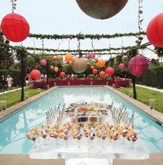 All About Color: Finding Your Perfect Wedding Color Palette - Wedding pool decorations Pool Party Themes, Luau Party, Party Ideas, Pool Wedding Decorations, Summer Wedding, Wedding Reception, Site Image, Vintage Inspiriert, The Great Gatsby