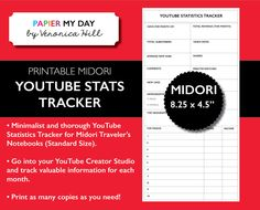 Midori Traveler's Notebook YouTube Video Statistics Tracker - MTN YouTube Video Statistics Tracker New Item from Papier My Day