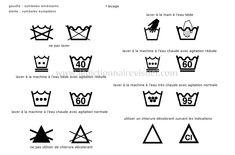 Symboles d'entretien des tissus: la plupart des vêtements comportent des symboles sur une étiquette, indiquant l'entretien suggéré du tissu selon ses caractéristiques propres.