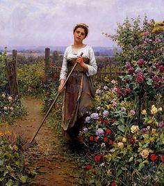 Daniel Ridgway Knight (American artist, 1839-1924) The Gardener
