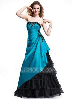 A-Line/Princess Sweetheart Floor-Length Taffeta Organza Prom Dress With Lace Beading (018025298) - JJsHouse