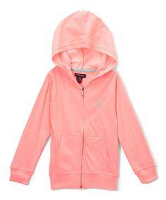 Neon Light Pink Zip-Up Hoodie - Toddler & Girls
