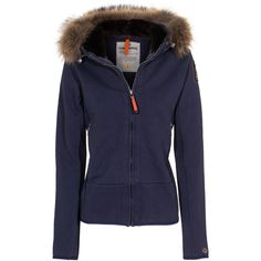 PARAJUMPERS Dragonfly Marine Blue Zipper hoodie with fur trim ($325) ❤ liked on Polyvore featuring tops, hoodies, zip front hoodies, blue hoodie, zipper pocket hoodie, hooded sweatshirt and blue hooded sweatshirt