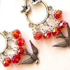 Romantic Victorian Gypsy Hot Red Crystal beads flying by XenaStyle, ₪85.00