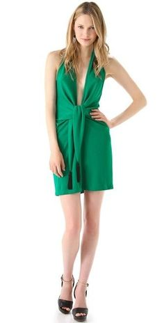 """Lella"" Plunge Cocktail Dress. BCBGMAXAZRIA lends some flapper flare to this cocktail dress with a plunging neckline that's sure to turn heads. Color: Ultra Green. Lightweight jersey knit. Deep V-neck. 