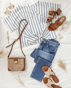 Outfits Fo, Cute Casual Outfits, Classic Outfits, Classic Style, Spring Style, Spring Summer Fashion, Clothing Photography, Fashion Photography, Striped Earrings