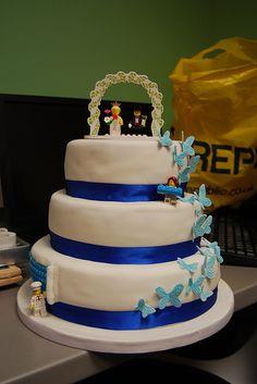 Lego + Butterflies Wedding Cake