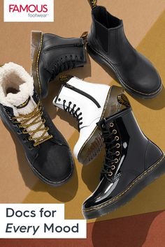 Tomboy Fashion, Sneakers Fashion, Fashion Shoes, Dr. Martens, Black Heeled Ankle Boots, Leelah, Aesthetic Shoes, Fresh Shoes, Hype Shoes