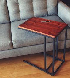 """Ikea hack - paint the metal gold. need drill, short flat screws, wood stain, and a 13-3/4"""" x 21-5/8"""" wood plank"""