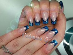 French inversa e Nail art french blu elettrico con paillettes!