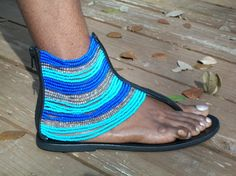 African Masai Beaded Sandals by CraftsByGertrude on Etsy, $40.00. Love these handmade sandals.