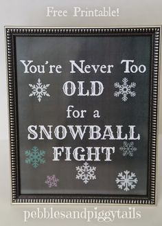 You're never too old for a snowball fight!  I love it! Indoor Snowball Fight Ideas plus cute FREE winter printables