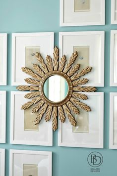 Idea: hand a pretty mirror in the middle of a collection of framed pictures to create depth.