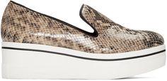 STELLA MCCARTNEY Beige Snake-Embossed Binx Loafers. #stellamccartney #shoes #flats