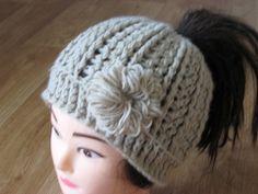 Crochet Messy bun hat tutorial flower (eng sub) CC for instructions