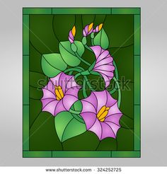 Beautiful garden flowers and bouton, floral vector composition in stained glass window