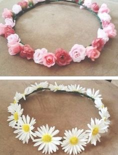 DIY flower headband for concerts etc.--real or fake flowers and hot glue. Can I have the Daisy one. Fake Flowers, Diy Flowers, Fabric Flowers, Diy Flower Crown, Flower Crowns, Flower Headbands, Summer Headbands, Baby Headbands, Flower Headband Hippie