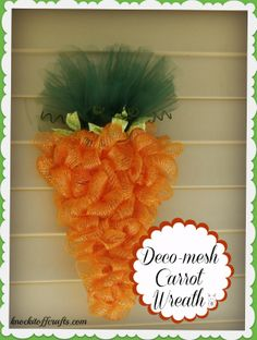 A Deco-mesh Carrot Wreath Tutorial @ knockitoffcrafts.com