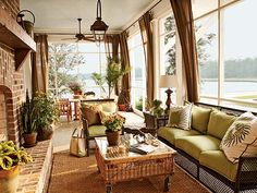Find inspiration and fun sunroom decorating ideas for your home in 11 beautiful sunrooms. They'll help you turn your sunroom into everyone's favorite room! Outdoor Rooms, Outdoor Living, Outdoor Furniture Sets, Sunroom Furniture, Wicker Furniture, Wicker Couch, Wicker Dresser, Wicker Man, Wicker Trunk