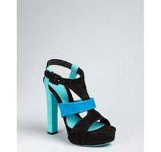 5c23e5a215e Gucci turquoise colorblock suede  Andie  platform sandals Blue Suede