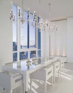 You would have a beautiful canvas for your gourmet food in this dining room!