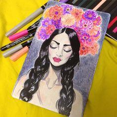 Lady, flower crown