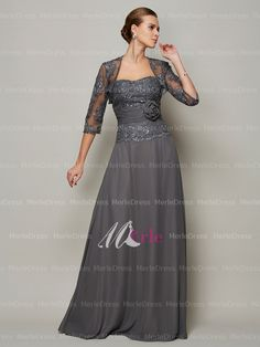 Mother of the Bride Dresses with Jackets Fall | Dark Gray Custom Lace Jackets Plus Size Mother Of The Bride Dresses