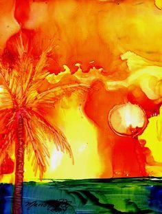 Tropical Sunset Original Alcohol Inks on Yupo Painting from Kauai Hawaii yellow orange green blue