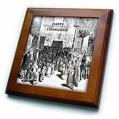 """1800 New York City Chanukah Celebration - 8x8 Framed Tile by 3dRose. $22.99. Cherry Finish. Keyhole in the back of frame allows for easy hanging.. Dimensions: 8"""" H x 8"""" W x 1/2"""" D. Solid wood frame. Inset high gloss 6"""" x 6"""" ceramic tile.. 1800 New York City Chanukah Celebration Framed Tile is 8"""" x 8"""" with a 6"""" x 6"""" high gloss inset ceramic tile, surrounded by a solid wood frame with pre-drilled keyhole for easy wall mounting.. Save 15% Off!"""