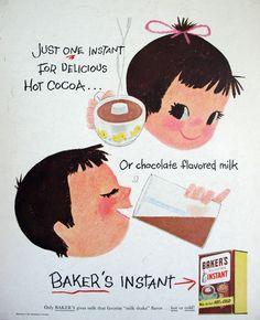 1956 Mary Blair little girl boy art Bakers Instant chocolate milk cocoa print ad Retro Advertising, Vintage Advertisements, Vintage Ads, Vintage Prints, Vintage Posters, Vintage Food, Vintage Disney, Vintage Stuff, Mary Blair