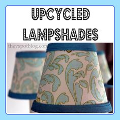 Upcycling boring lampshades with fabric, spray paint and a glue gun.choose your own color and fabric! Diy Arts And Crafts, Crafts To Make, Fun Crafts, Lampshades, Lampshade Chandelier, Lampshade Decor, Glue Gun, Recycled Crafts, Decoration