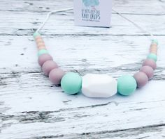 Teething Necklace, Silicone Necklace, Baby Shower, Tula Accessory/ New Baby Gift/ Baby/ New Mom/ Breastfeeding