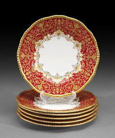 A set of six Coalport dessert plates and twenty-three Cauldon bone china dessert plates *early 20th century