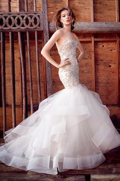 Beaded and embroidered fit and flare tulle wedding dress. Lazaro, Fall 2015
