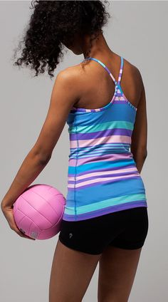 focus on your game winning spike in this fitted tank.   Tumblin' Tank