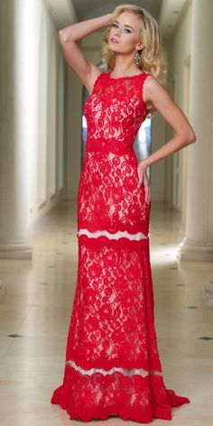 Elegant High Neck Lace Evening Gown