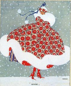 Red and white winter coat with fur trim print. Oh, Valentine. olosta: Nivôse by Romme, 1919 (via crystaliiizedrose)