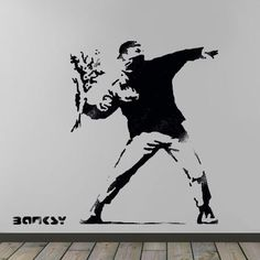 Banksy Flower Thrower stencil, HUGE Life size wall art stencil, Banksy replica painting stencil, Ideal Stencils by IdealStencils on Etsy https://www.etsy.com/listing/227252070/banksy-flower-thrower-stencil-huge-life