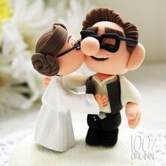 Han looks a little like young Carl from Up - just realised he is young Carl from Up lol very cool ... Custom Wedding Cake Topper - Star Wars Kissing Couple (UP). via Etsy.