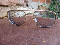 8a4c1bec62 1970s Aviator Eyeglasses. Mens vintage gold frame glasses. Number 10    makers mark. Retro square lens style. Eyewear project for collector.