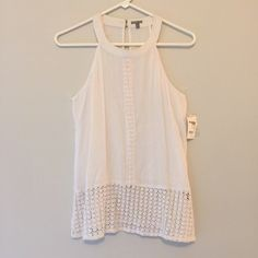 "White Lace Tank This cute and casual too has brand new, never been worn. Perfect for spring and summer! Measures 26"" from shoulder to hem and 20.5"" from shoulder to start of lace detailing / No holes, stains or imperfections / comes from smoke free environment Bundles welcome Offers welcome through offer button. ❌NO trades, please. ⚡️Same/Next day shipping Charlotte Russe Tops Tank Tops"